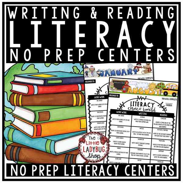 Literacy Center Activities Choice Boards & Homework Choice Boards