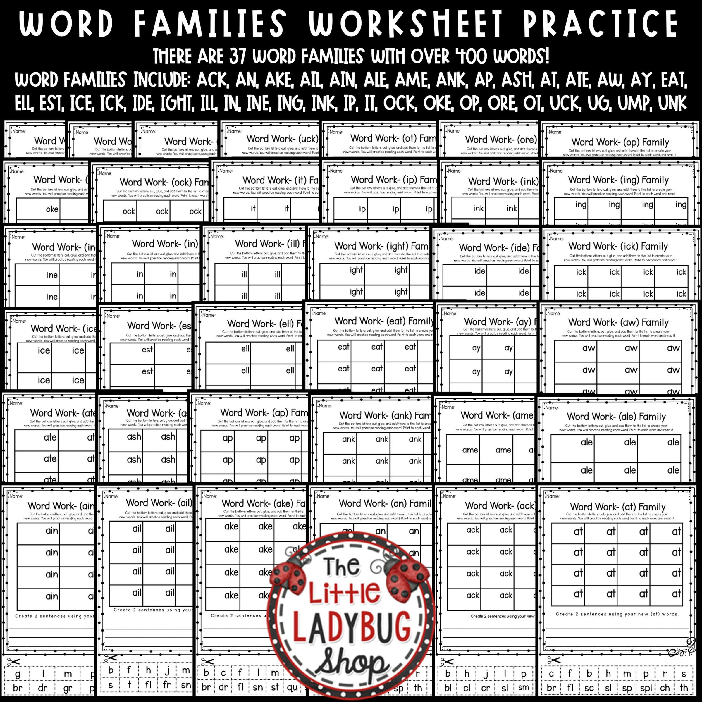 Word Families Activities 1st Grade 2nd Grade Amp Word
