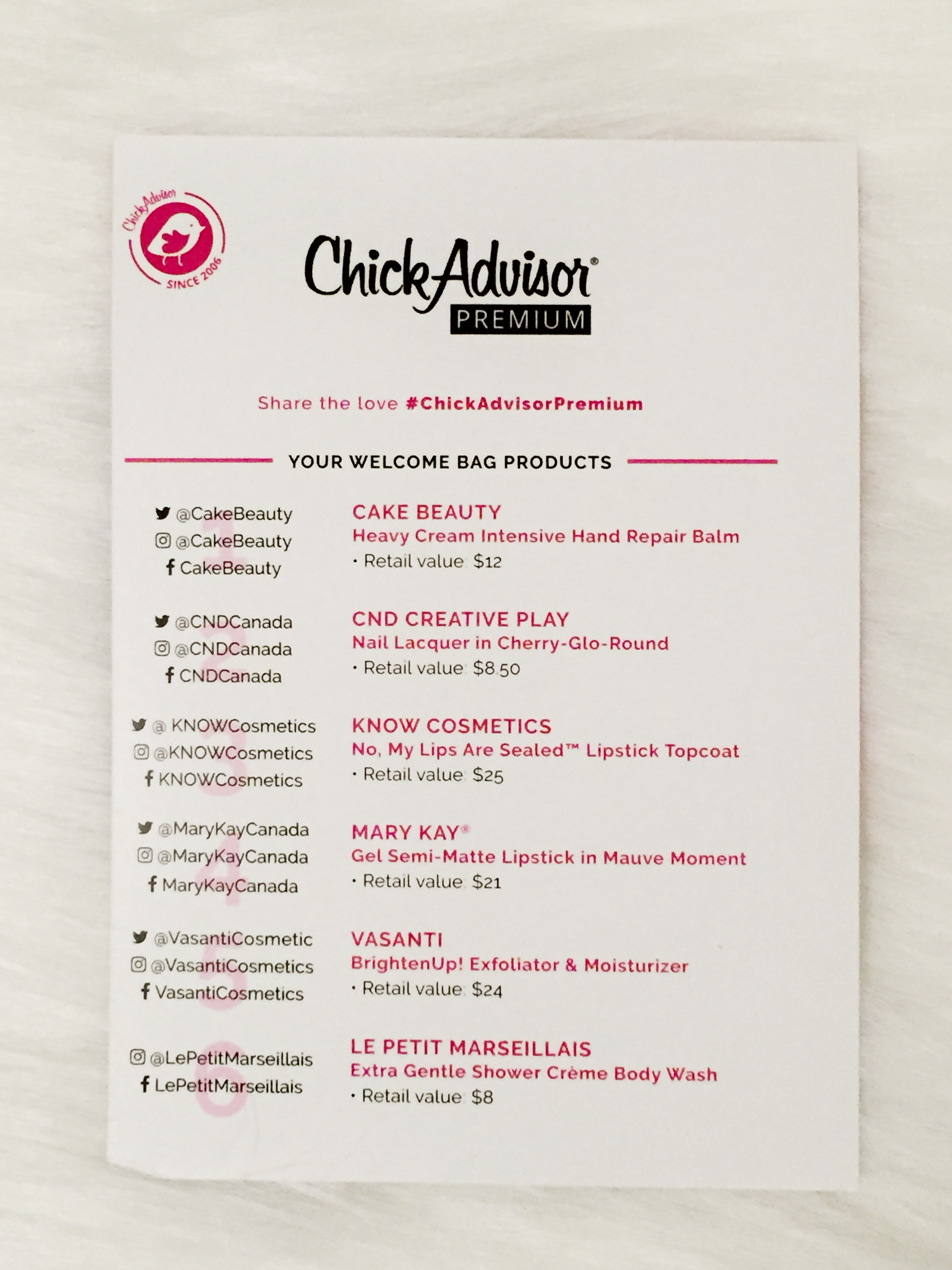 ChickAdvisor Menu