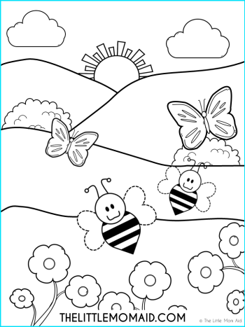 Spring Colouring Page for kids