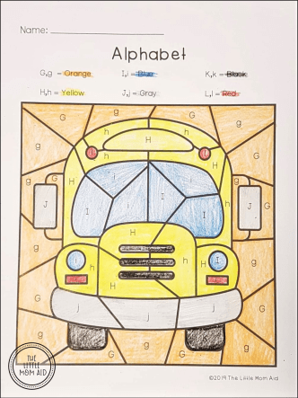 Back to School Color by Letter - Alphabet Coloring Pages Back to School