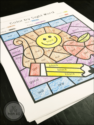 Back to School Color by Sight Word Primer Word List