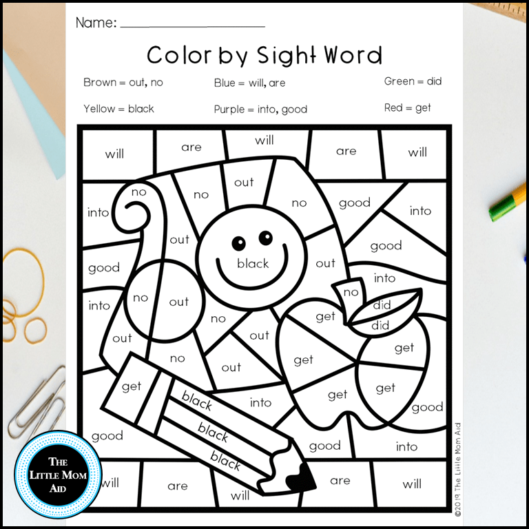 - Back To School Color By Sight Word Printables - The Little Mom Aid