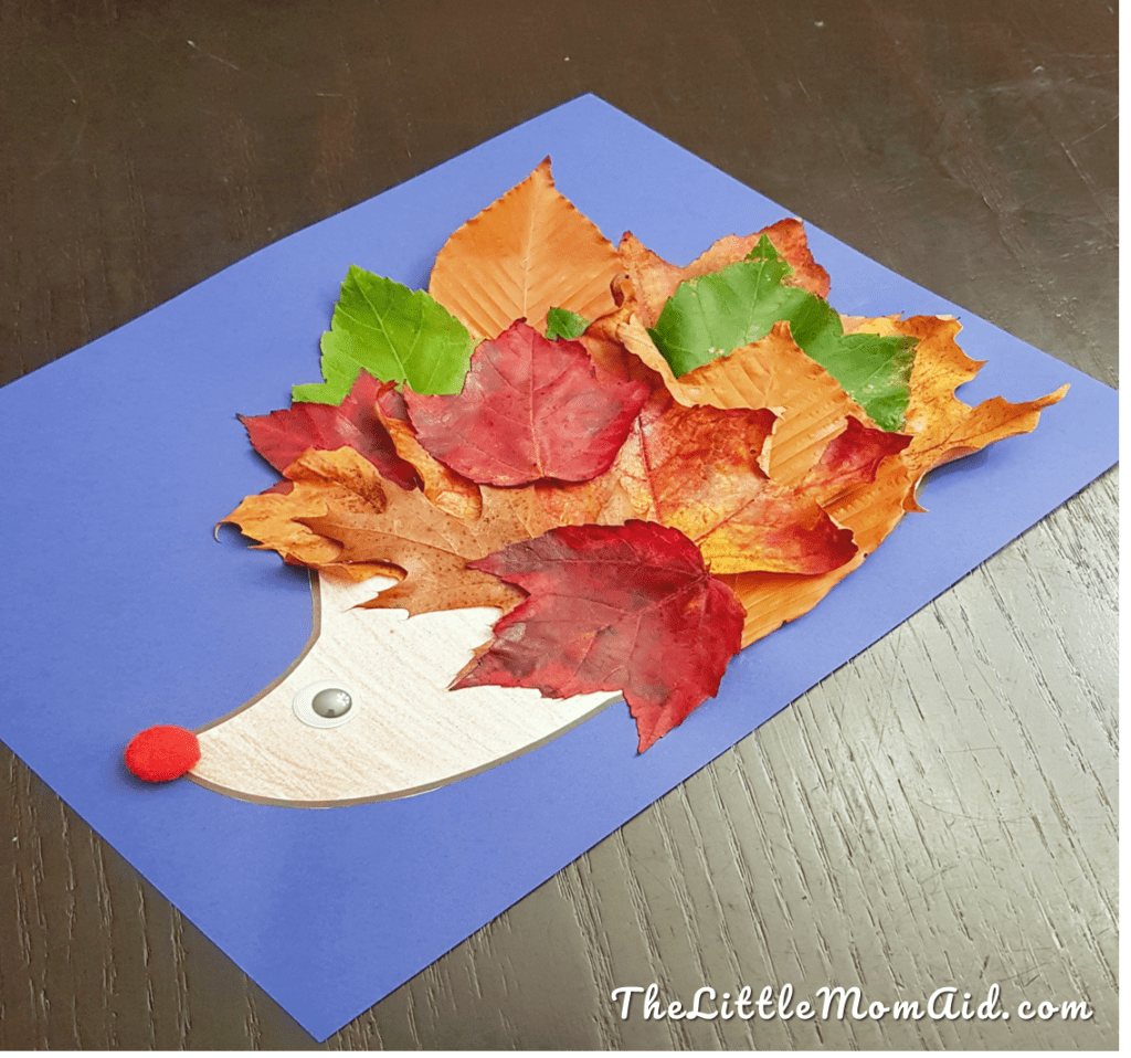 Fall Leaf hedgehog Craft for toddlers and kids