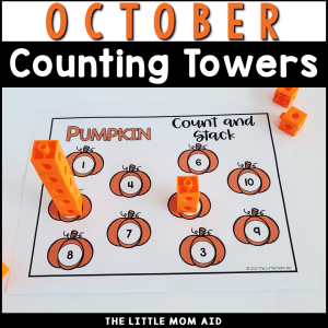These October Counting Towers are a fun and interactive way for preschool and kindergarten students to practice number recognition, counting and 1:1 correspondence.
