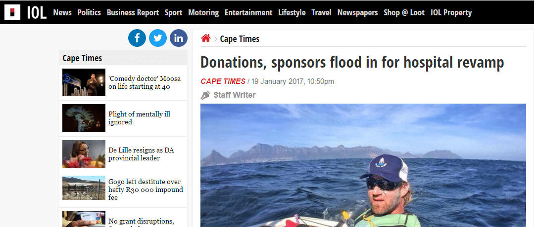 Cape Times Article | Donations Come Flooding In!