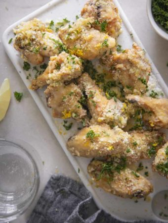 garlic parmesan wings top view