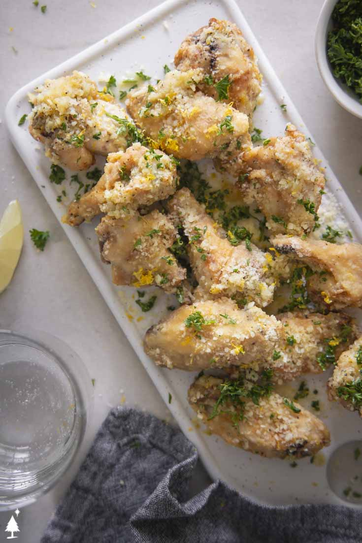 garlic parmesan chicken wings top view