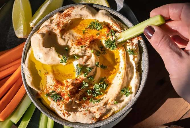 top view of keto hummus in a bowl