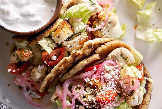 top view of chicken gyros on a plate