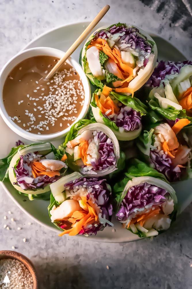 fresh spring rolls with peanut sauce