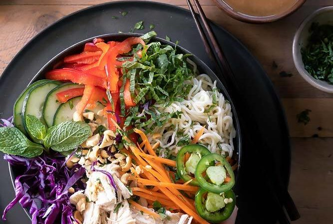 top view of Veggie spring roll bowl