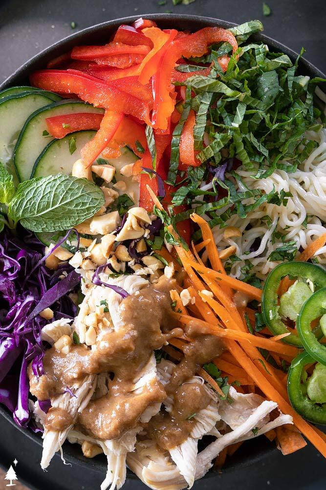 closer view of spring roll bowl