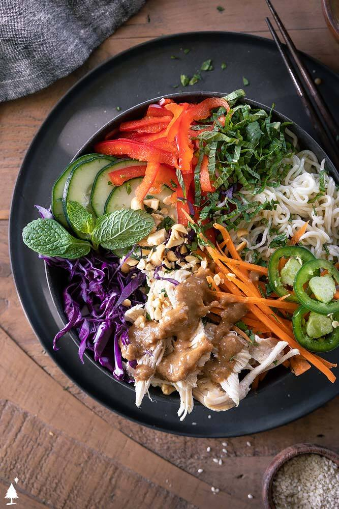 top view of spring roll salad in a bowl