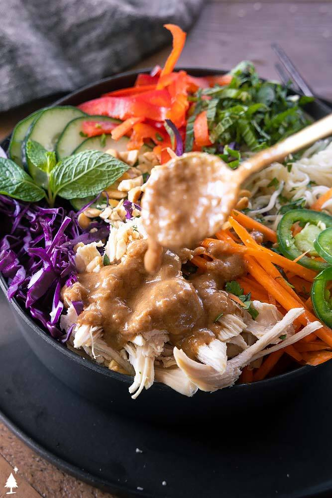 closer view of fresh spring rolls salad in a bowl