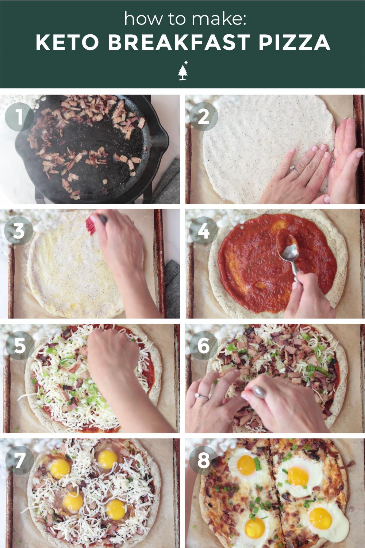 breakfast pizza recipe process shots