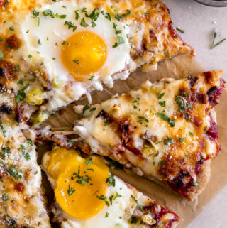 breakfast pizza recipe on a baking sheet