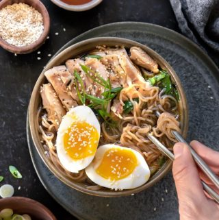 top view of healthy ramen in a bowl