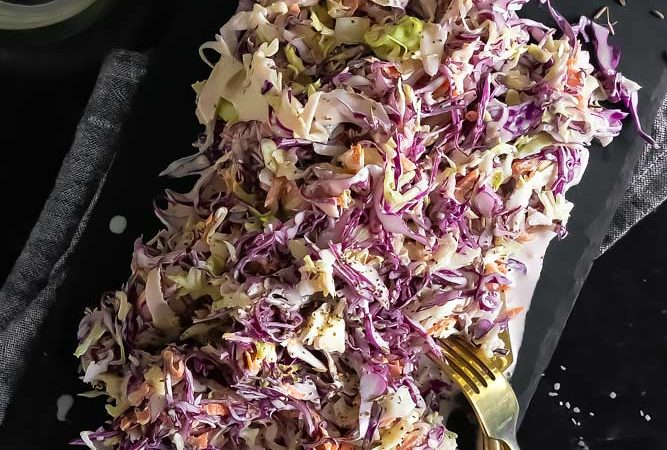 top view of healthy coleslaw
