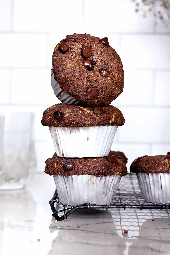a stack of Almond flour chocolate zucchini muffins
