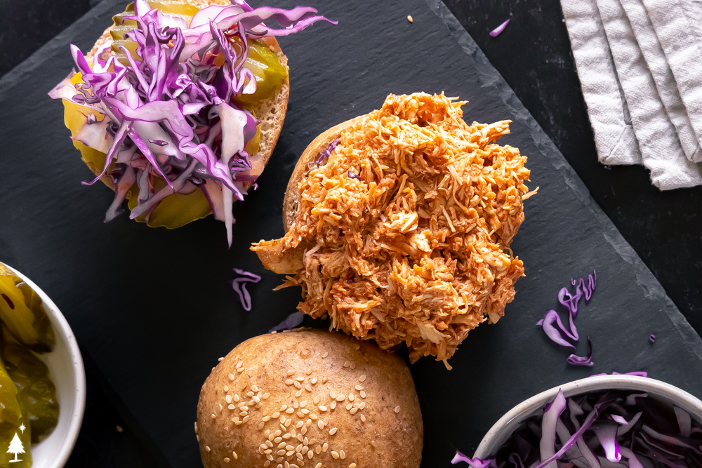 Pulled chicken recipe top view