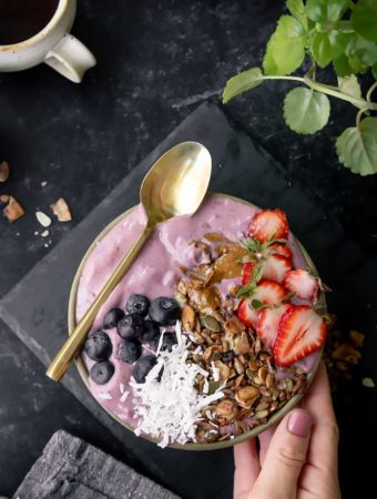 Keto Berry smoothie bowl with berry toppings