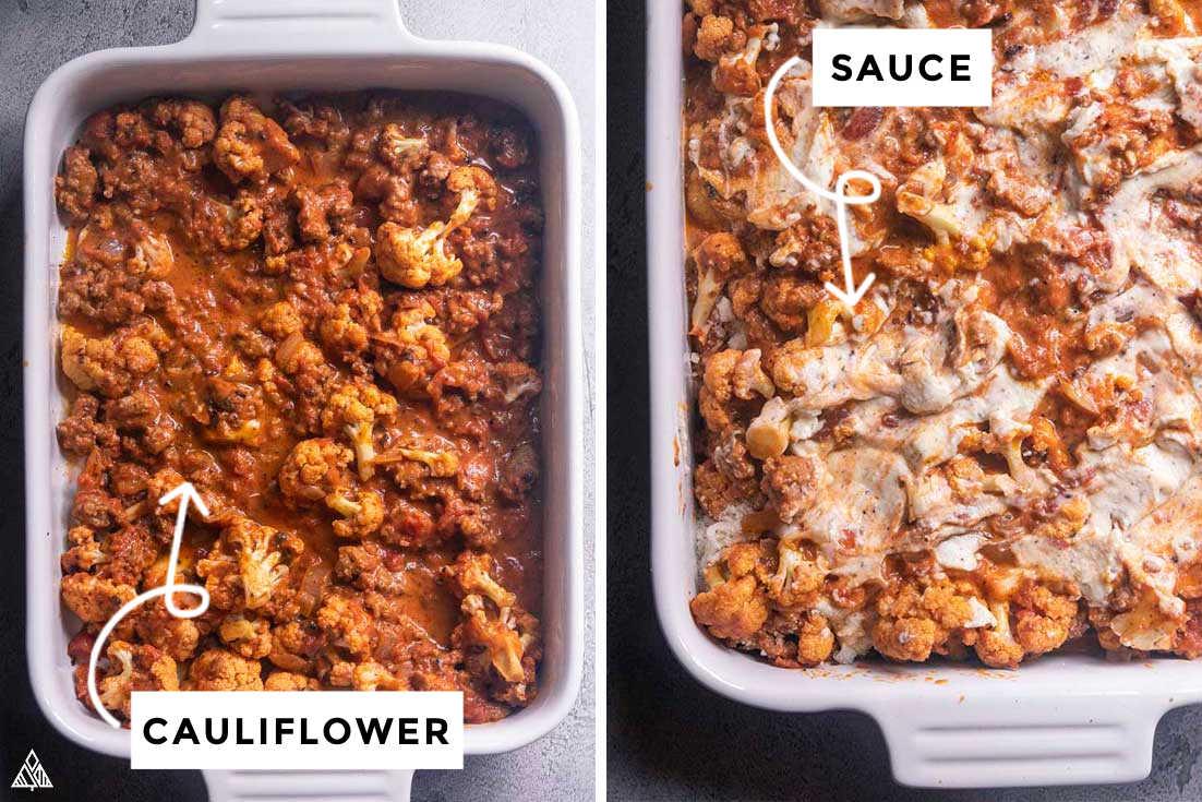 next step on how to make cauliflower baked ziti