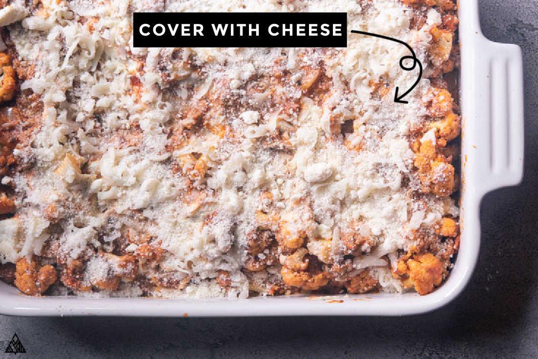 final steps on how to make cauliflower baked ziti