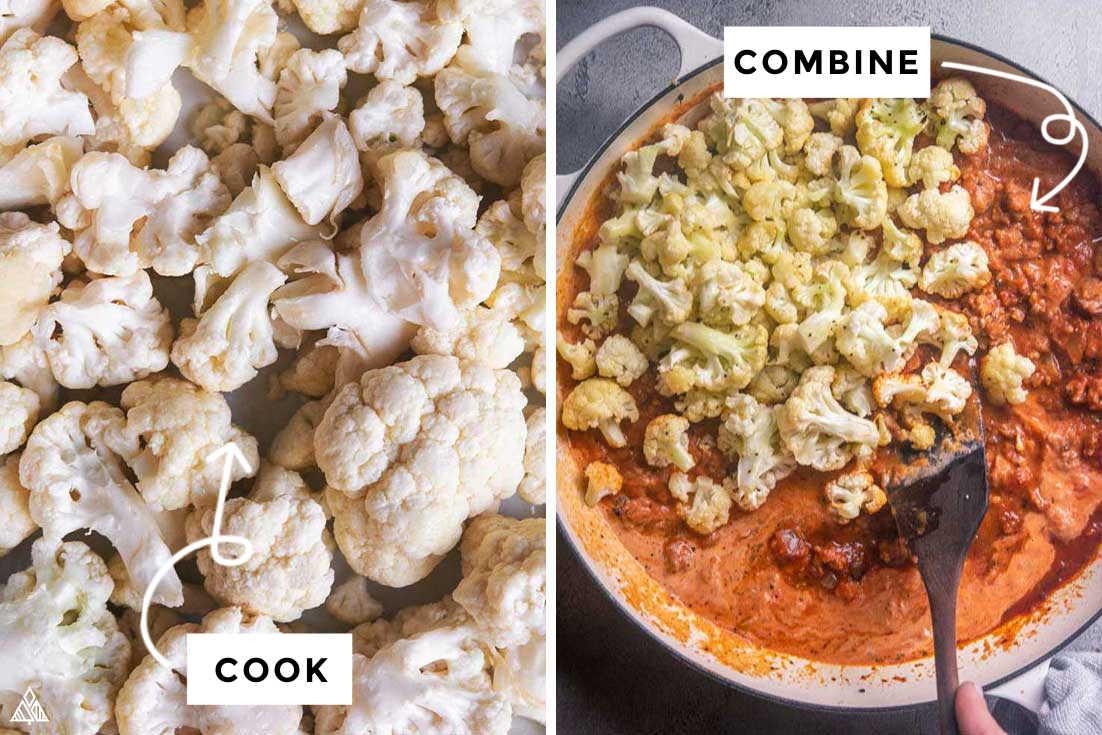steps on how to make cauliflower baked ziti