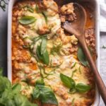 cauliflower baked ziti in a casserole