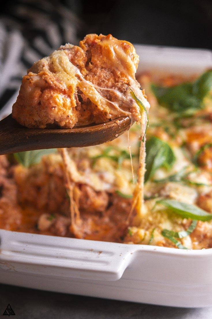 closer look of cauliflower baked ziti