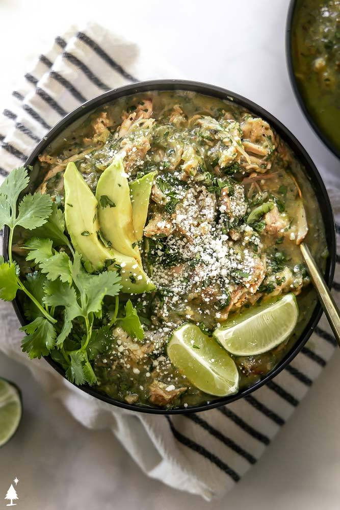 top view of green chili recipe