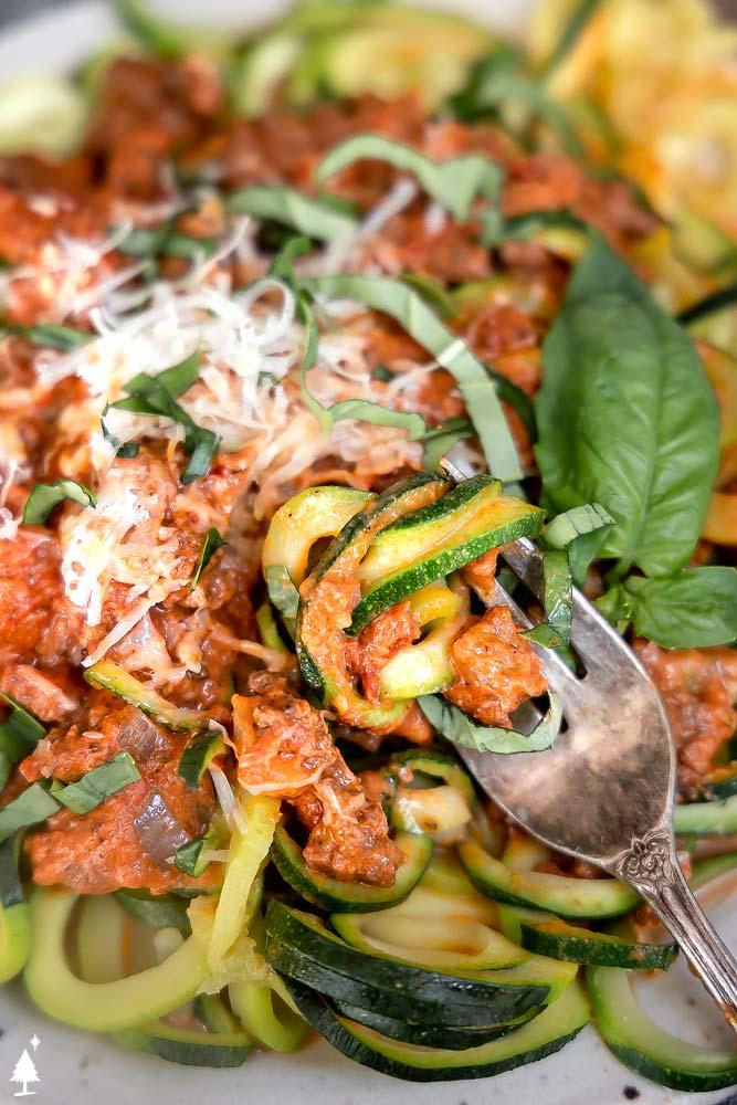 closer view of keto spaghetti in a plate
