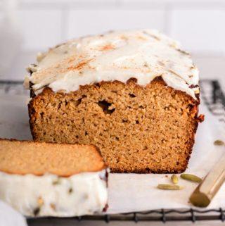 sliced keto pumpkin bread coconut flour
