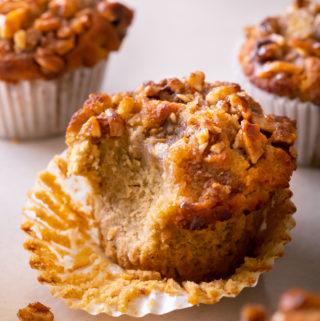 closer view of gluten free pumpkin muffins