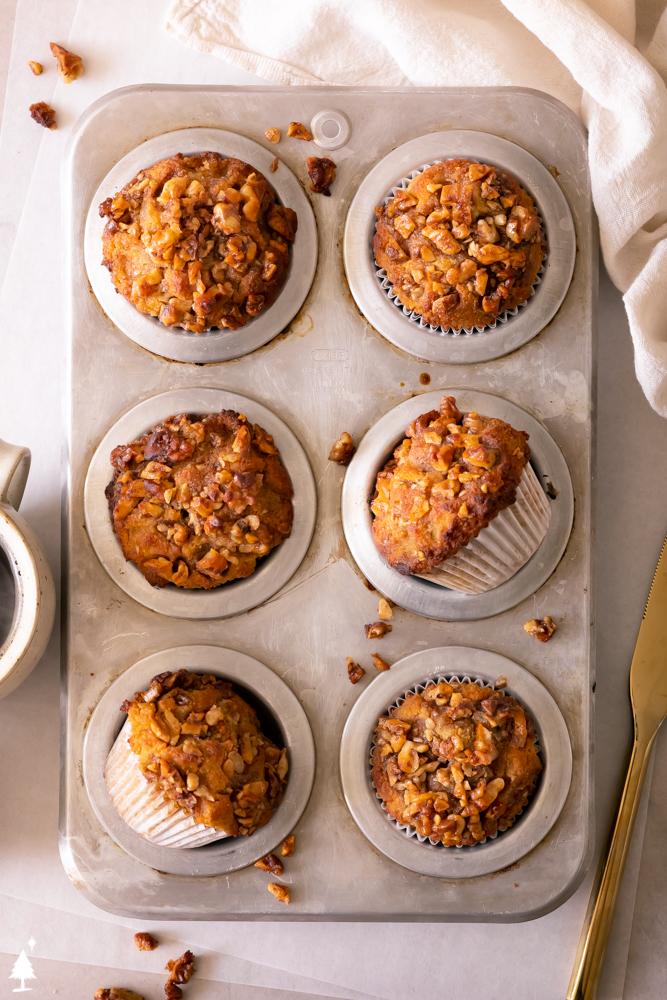 keto pumpkin pie muffins in a tray