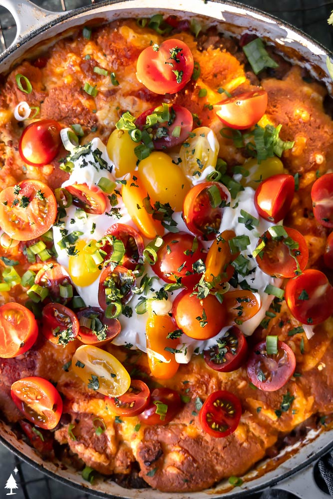 closer view of low carb mexican tamale skillet pie