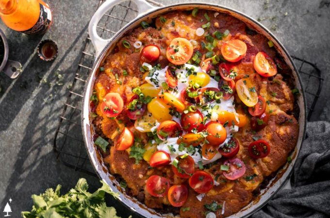 top view of low carb mexican tamale skillet pie