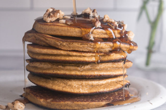 side view of low carb pumpkin pancakes