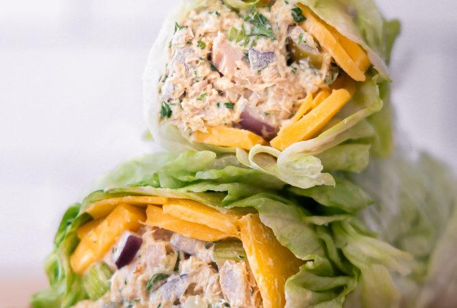 healthy tuna salad in lettuce wrap