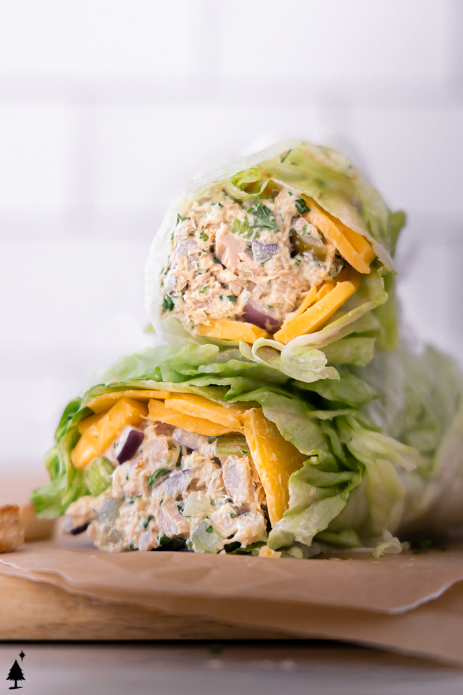 healthy tuna salad wrapped