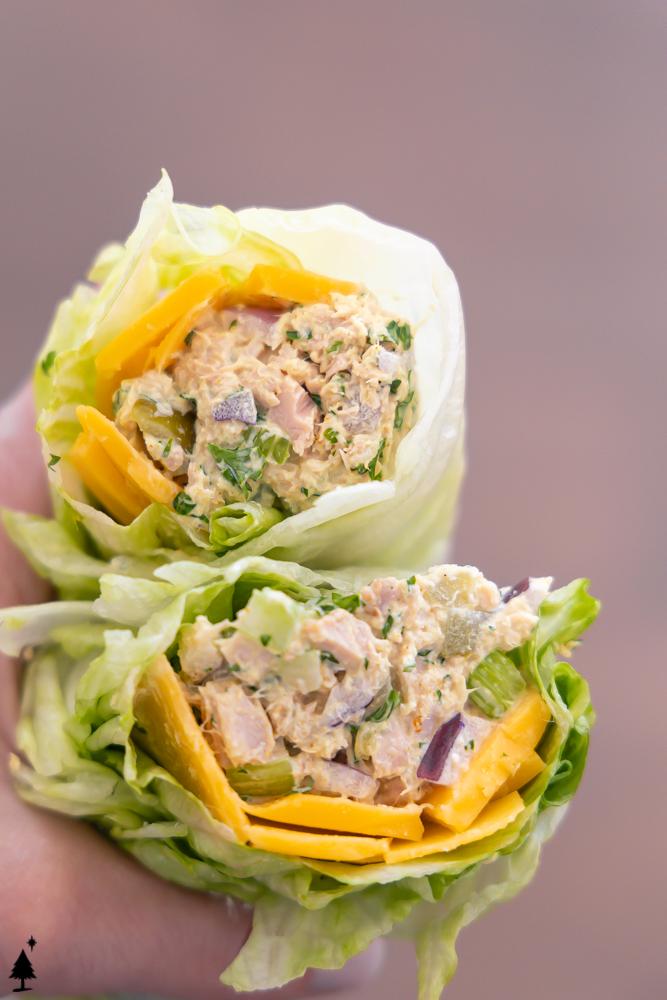 two stacks of best tuna salad