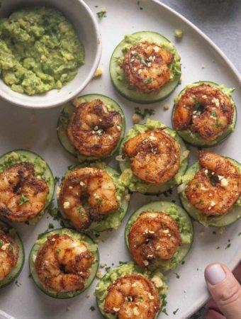 top view of shrimp cucumber bites