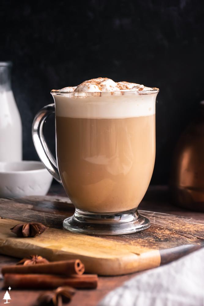 a glass of pumpkin keto spice latte