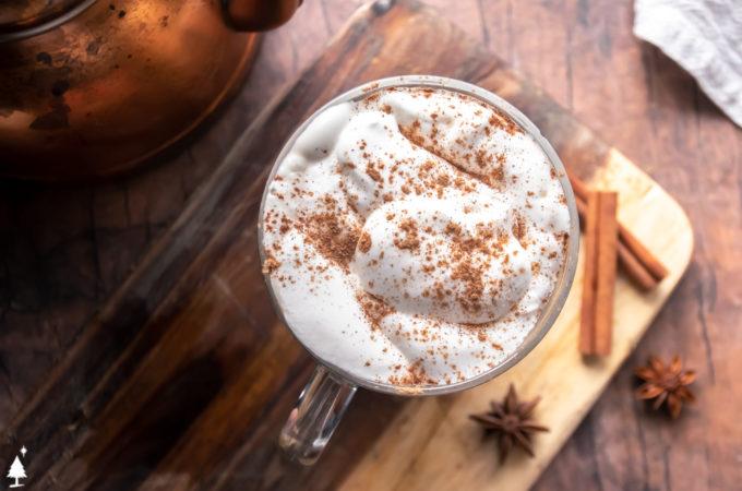 top view of keto pumpkin spice latte