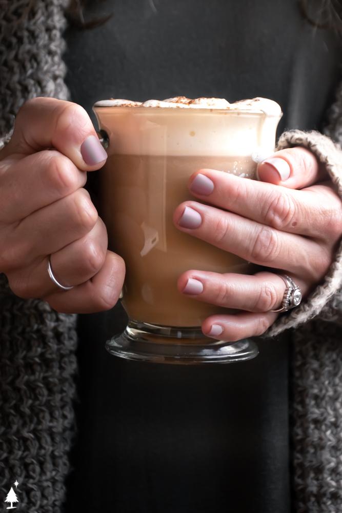 closer view of pumpkin keto spice latte in a glass
