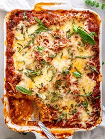 top view spaghetti squash keto