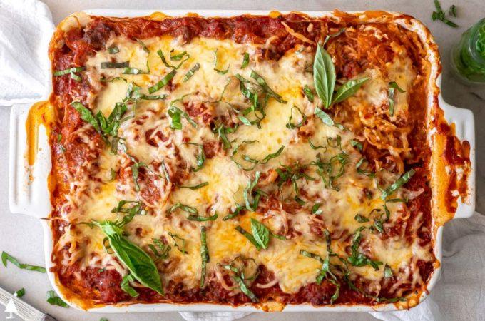 closer view of spaghetti squash casserole
