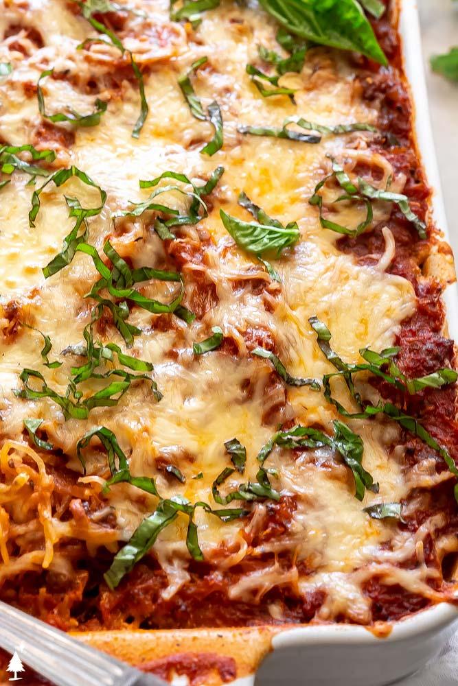 closer view of cheesy spaghetti squash keto