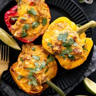 top view of stuffed bell peppers without rice